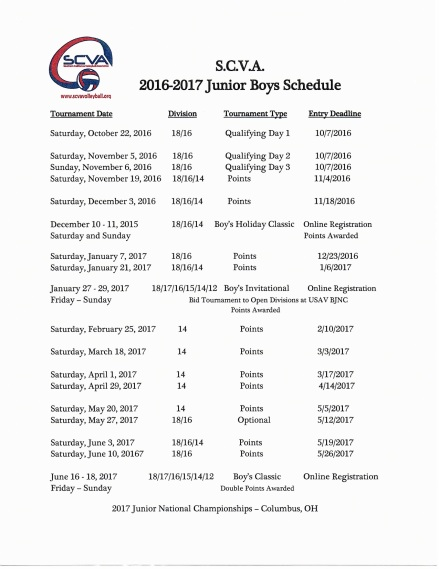 2016-17 SCVA Junior Boys' Schedule copy